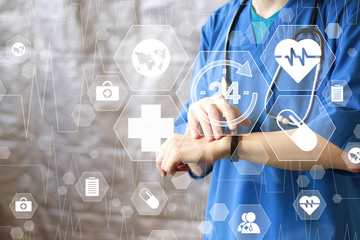 Wall Mural - Doctor pushing button 24 hours service virtual healthcare network medicine icon