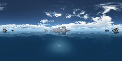 360 Grad Panorama mit Fantasie Unterseeboot und prähistorischen Fischen