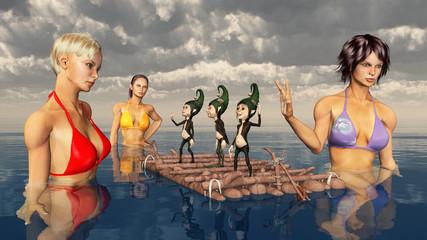 Badende Frauen und Zwerge auf einem Floß im Meer