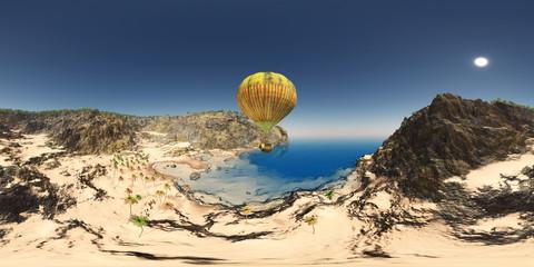 360 Grad Panorama mit Fantasie Heißluftballon und Küstenlandschaft