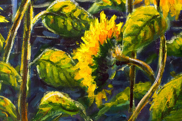 Sunflowers Acrylic, Oil painting Original handpainted art of sunflower flowers, beautiful gold sunflowers in sun flowers on canvas. Modern Impressionism.Impasto artwork.