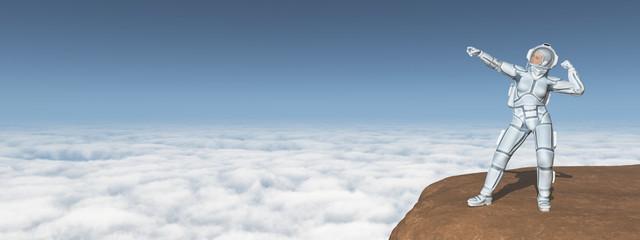 Astronautin über den Wolken