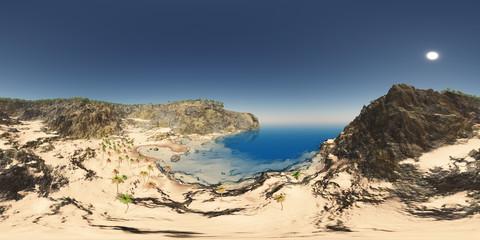 360 Grad Panorama mit einer Küstenlandschaft