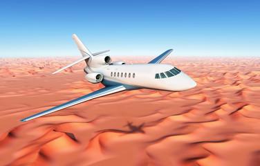 Geschäftsreiseflugzeug über der Wüste