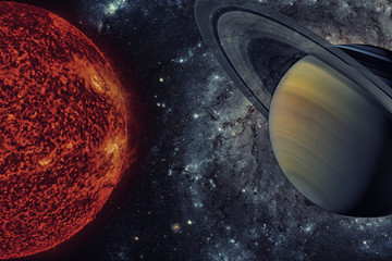 Solar System - Saturn. It is the sixth planet from the Sun. Elements of this image furnished by NASA.