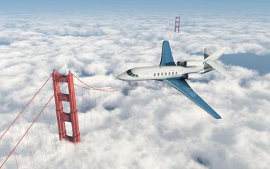Geschäftsreiseflugzeug über der Golden Gate Bridge