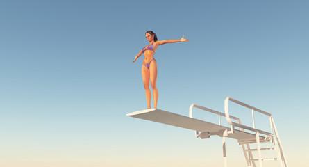 Turmspringerin auf einem Sprungbrett