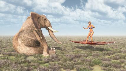 Frau auf fliegendem Teppich und sitzender Elefant