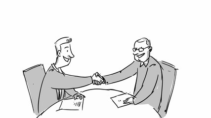 Two shaking hands talking business. Vector sketch for cartoon, storyboard, projects