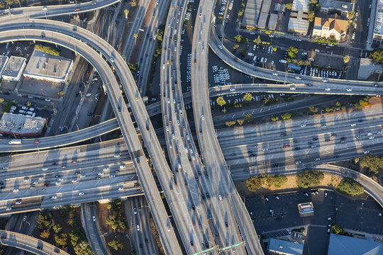 Aerial view of Harbor 110 and Santa Monica 10 freeway interchange in downtown Los Angeles, California.