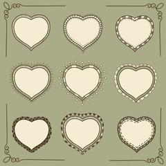 Set of hand-drawn doodle heart frames