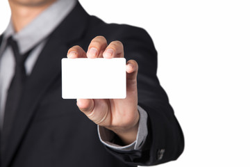 A Businessman showing his name card with space for copy.