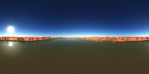 360 Grad Panorama mit einer Wüstenoase