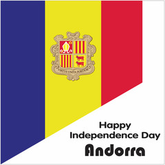 Andorra Independence Day. Happy Independence Day. 8th September. Andorra Flag on White Background