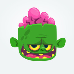 Green zombie with pink brains outside of the head. Halloween character. Vector cartoon  illustration
