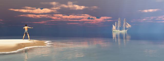 Schiffbrüchiger und Segelschiff