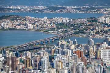 Aerial view of Dowtown Florianopolis City and Pedro Ivo Campos Bridge - Florianopolis, Santa Catarina, Brazia
