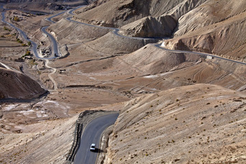 High altitude motorable winding road in Ladakh,India