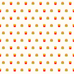 fast food, hamburger and french fries seamless pattern background. Vector illustration, eps 10