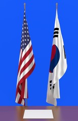 3d illustration of two state collapsed flags of USA and South Korea and table and a sheet of paper on it in ceremonial style