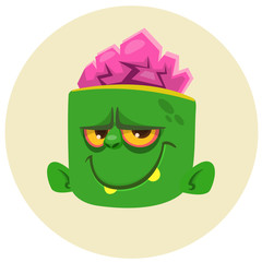 Funny Zombie Head Cartoon Character. Halloween vector illustration