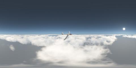 360 Grad Panorama mit einem Segelflugzeug über den Wolken