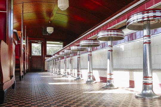 Interior of vintage American railcar diner