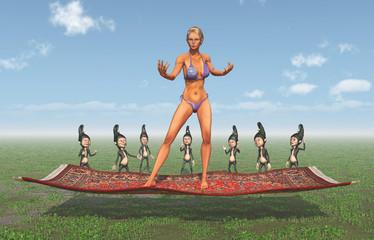 Attraktive Frau im Bikini auf fliegendem Teppich und Zwerge