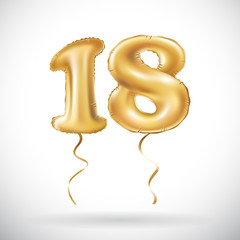 vector Golden number 18 eighteen metallic balloon. Party decoration golden balloons. Anniversary sign for happy holiday, celebration, birthday, carnival, new year.