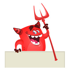 Cartoon red devil monster holding blank wooden board or placard. Vector monster character illustration. Halloween design
