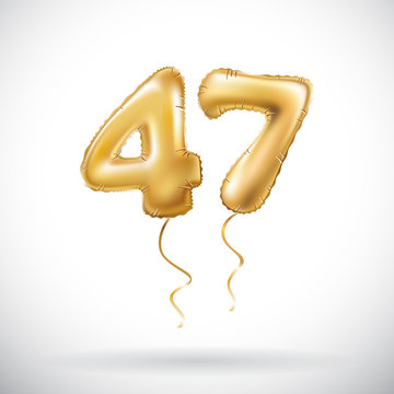 vector Golden number 47 forty seven metallic balloon. Party decoration golden balloons. Anniversary sign for happy holiday, celebration, birthday, carnival, new year.