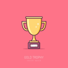 Golden trophy icon in line art modern style vector illustration