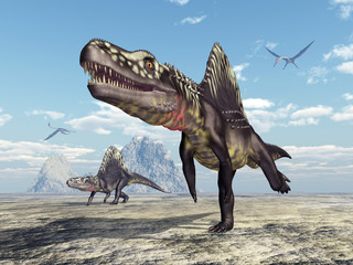 Archosaurier Arizonasaurus und Flugsaurier Quetzalcoatlus