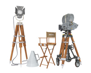 Vintage movie camera equipment isolated on white background