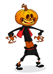 Vector cartoon image of Jack O' Lantern with orange pumpkin instead of a head, in a dark coat and witch hat standing and grinning on a white background. Halloween. Vector illustration.