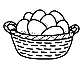 egg in basket / cartoon vector and illustration, black and white, hand drawn, sketch style, isolated on white background.