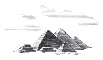 Great Pyramids of Egypt, Graphic linear tonal drawing by slate pencil.  Isolated on white background