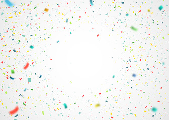 Colorful confetti falling randomly. Abstract background with explosion particles. Vector illustration can be used for greeting card, carnival, celebration.