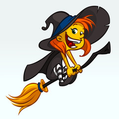 Cartoon pretty funny witch flying on her broom. Halloween vector illustration isolated on white