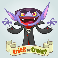 Cartoon vampire. Halloween vector illustration. Postcard or poster for party