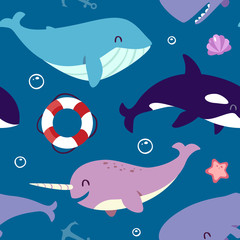 vector blue whale, sperm whale, narwhal and killer whale seamless pattern