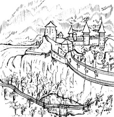Black and white illustration of a castle. Old castle in Ukraine