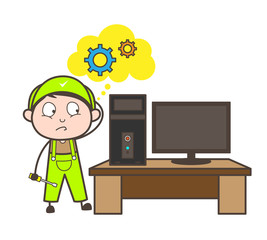 Cartoon Repairman Thinking How to Repair Computer Vector Concept