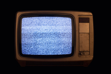 old TV with no signal image on black background