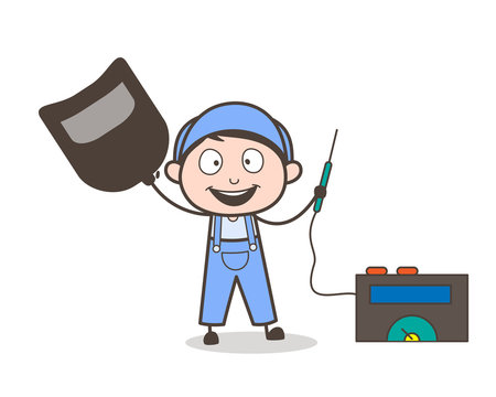 Cartoon Welder with Welding Machine Vector Illustration