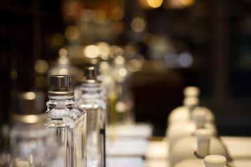 perfume bottles in store display shelf