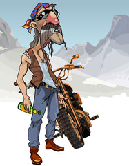 Cartoon male biker with a bottle next to a motorcycle