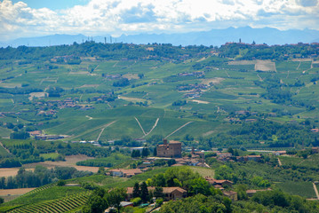 View of the Langhe hills with the Castle of Grinzane Cavour