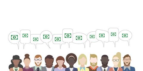Leute mit Sprechblasen - Geldschein Dollar
