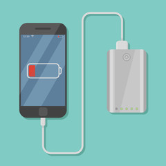 Black mobile phone charging with power bank isolated on background. Flat style vector illustration.